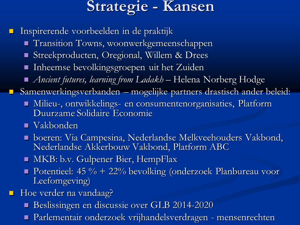 Strategie - Kansen Inspirerende voorbeelden in de praktijk Inspirerende voorbeelden in de praktijk Transition Towns, woonwerkgemeenschappen Transition
