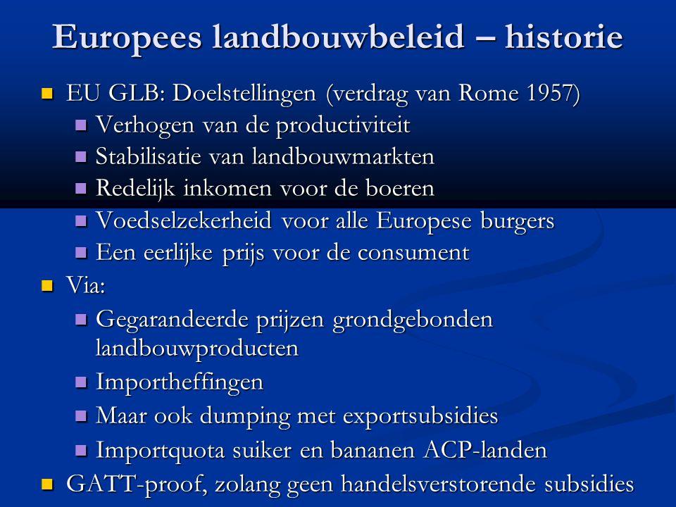 Europees landbouwbeleid – historie EU GLB: Doelstellingen (verdrag van Rome 1957) EU GLB: Doelstellingen (verdrag van Rome 1957) Verhogen van de produ