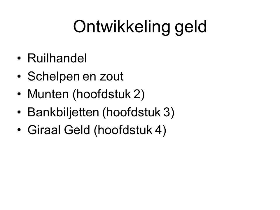 Ontwikkeling geld Ruilhandel Schelpen en zout Munten (hoofdstuk 2) Bankbiljetten (hoofdstuk 3) Giraal Geld (hoofdstuk 4)