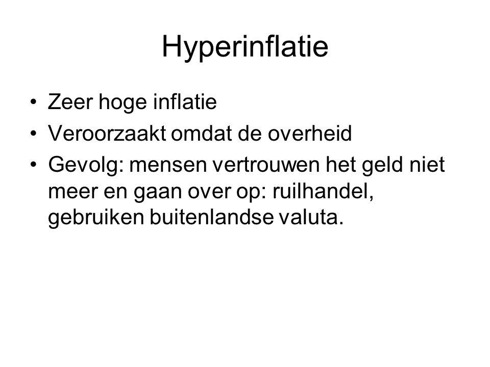 Hyperinflatie Zeer hoge inflatie Veroorzaakt omdat de overheid Gevolg: mensen vertrouwen het geld niet meer en gaan over op: ruilhandel, gebruiken buitenlandse valuta.