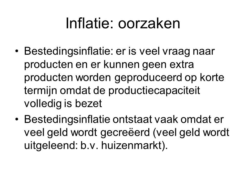 Inflatie: oorzaken Bestedingsinflatie: er is veel vraag naar producten en er kunnen geen extra producten worden geproduceerd op korte termijn omdat de productiecapaciteit volledig is bezet Bestedingsinflatie ontstaat vaak omdat er veel geld wordt gecreëerd (veel geld wordt uitgeleend: b.v.