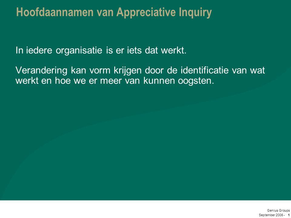 September 2006 - Genius Groups 1 Hoofdaannamen van Appreciative Inquiry In iedere organisatie is er iets dat werkt. Verandering kan vorm krijgen door
