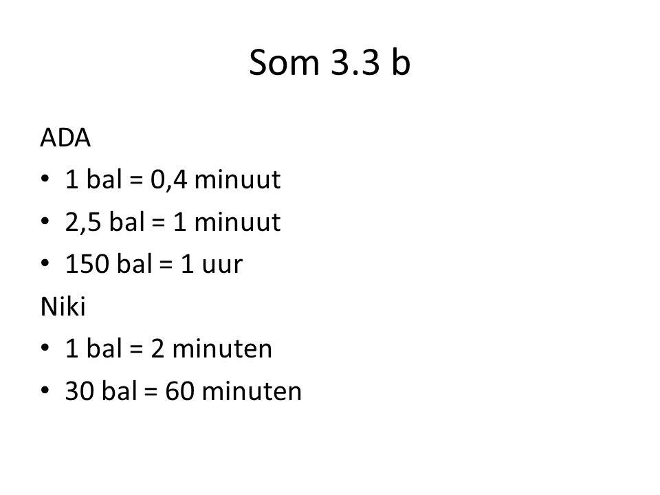 Som 3.3 b ADA 1 bal = 0,4 minuut 2,5 bal = 1 minuut 150 bal = 1 uur Niki 1 bal = 2 minuten 30 bal = 60 minuten