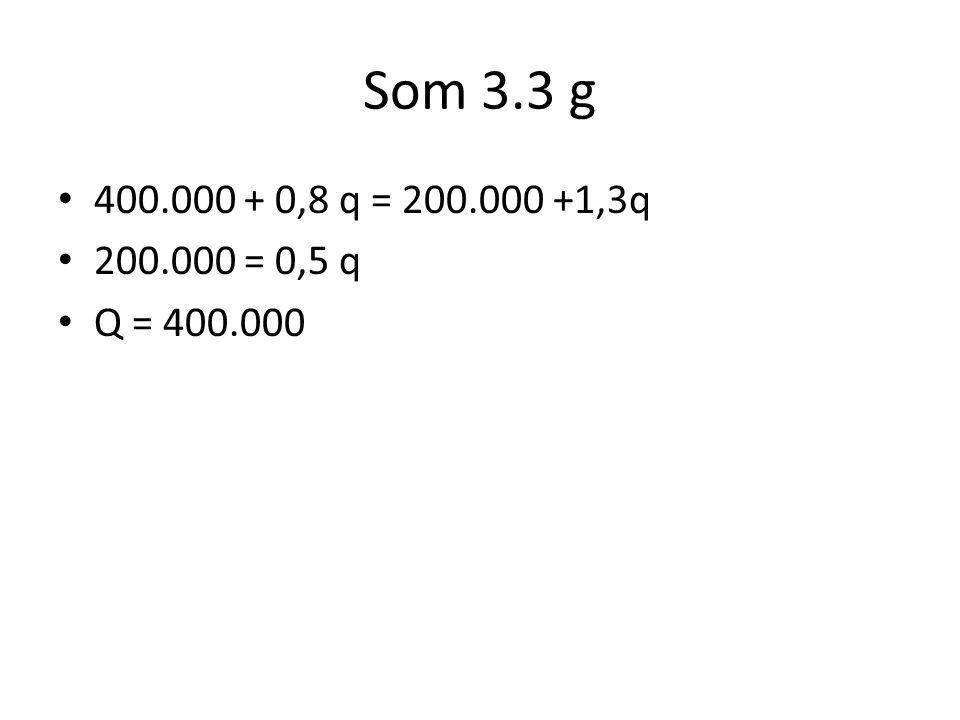 Som 3.3 g 400.000 + 0,8 q = 200.000 +1,3q 200.000 = 0,5 q Q = 400.000