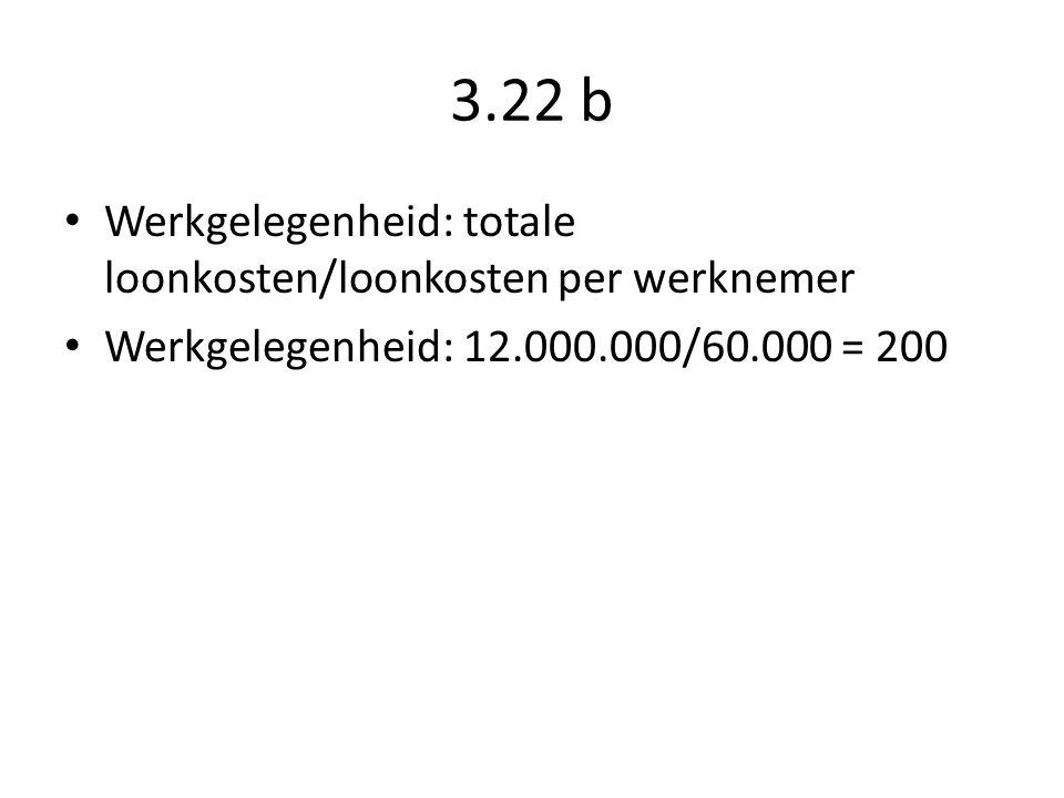 3.22 b Werkgelegenheid: totale loonkosten/loonkosten per werknemer Werkgelegenheid: 12.000.000/60.000 = 200