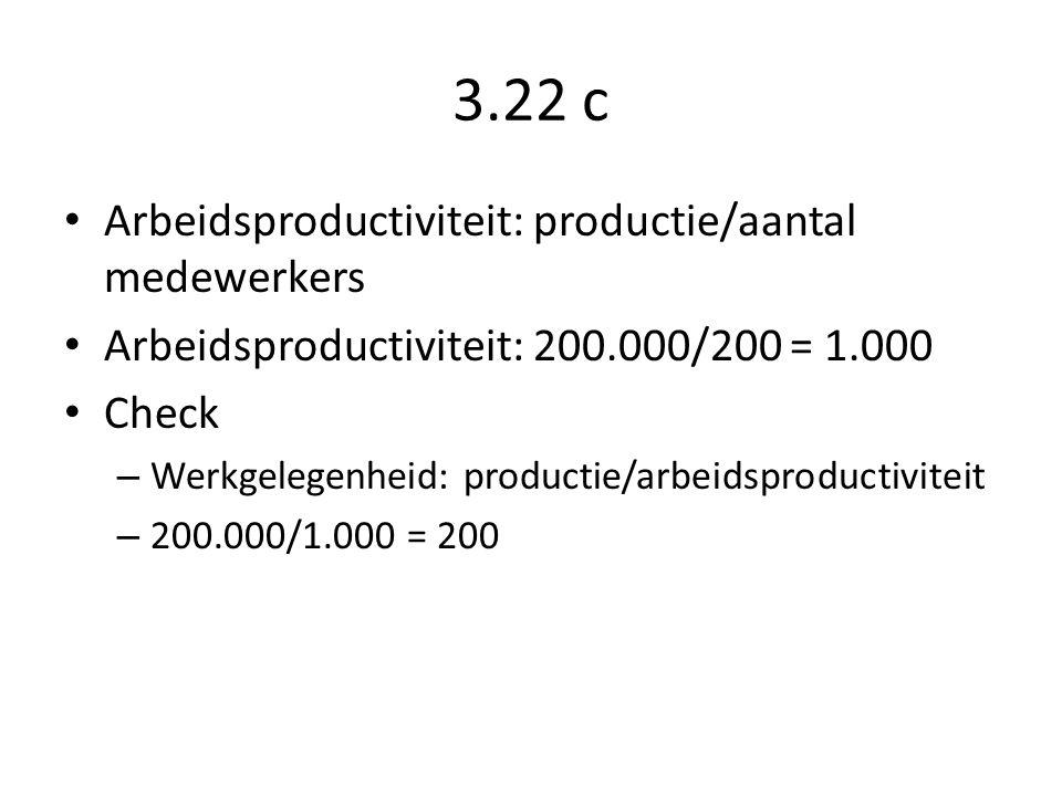 3.22 c Arbeidsproductiviteit: productie/aantal medewerkers Arbeidsproductiviteit: 200.000/200 = 1.000 Check – Werkgelegenheid: productie/arbeidsproductiviteit – 200.000/1.000 = 200