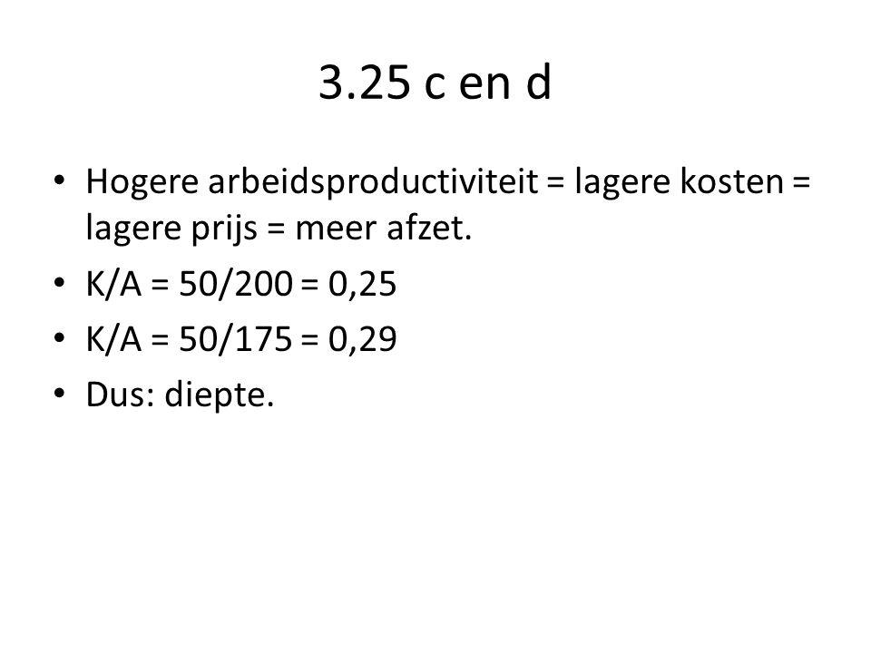 3.25 c en d Hogere arbeidsproductiviteit = lagere kosten = lagere prijs = meer afzet.