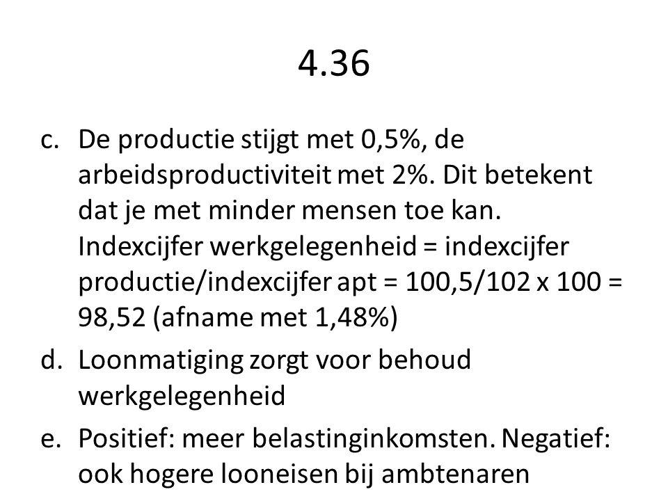 4.36 c.De productie stijgt met 0,5%, de arbeidsproductiviteit met 2%.