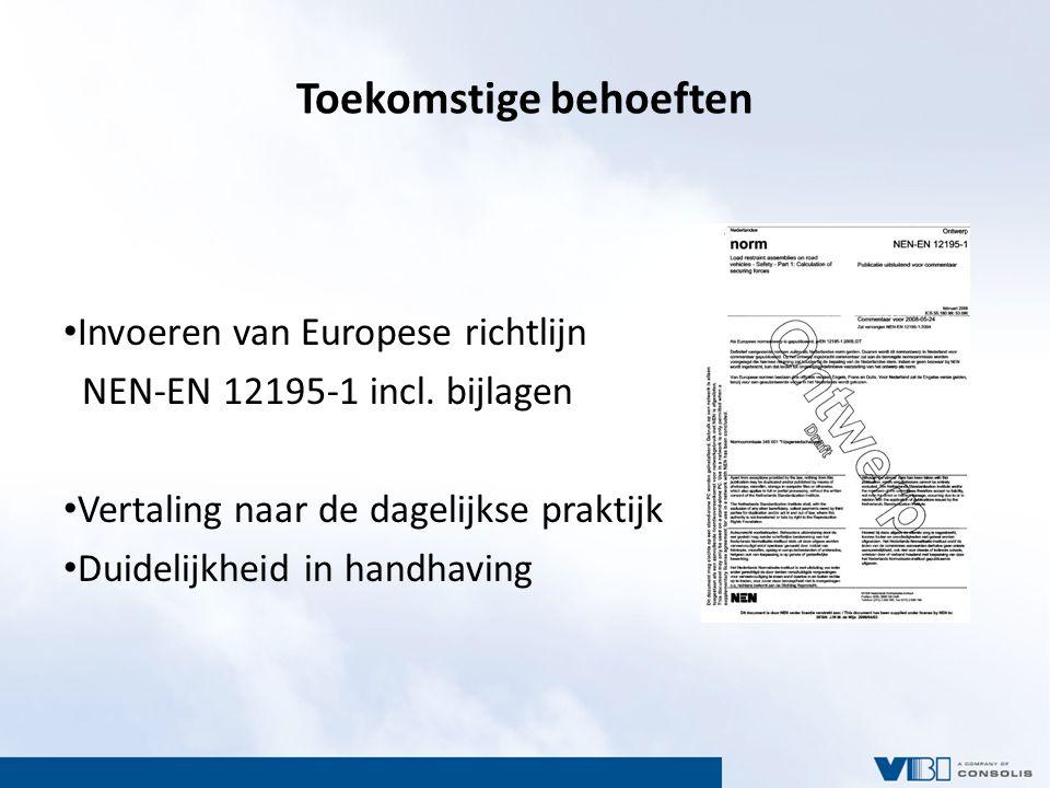 Toekomstige behoeften Invoeren van Europese richtlijn NEN-EN 12195-1 incl. bijlagen Vertaling naar de dagelijkse praktijk Duidelijkheid in handhaving