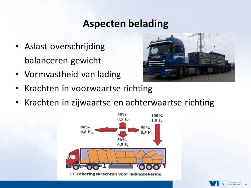 Aspecten belading Aslast overschrijding balanceren gewicht Vormvastheid van lading Krachten in voorwaartse richting Krachten in zijwaartse en achterwaartse richting