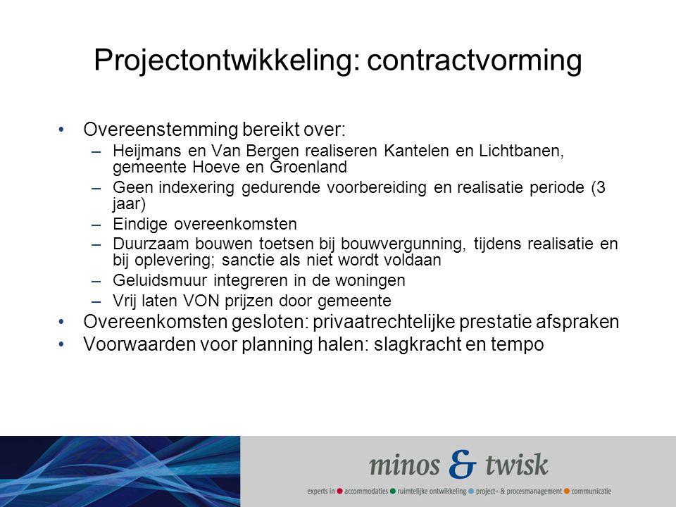 Projectontwikkeling: contractvorming Overeenstemming bereikt over: –Heijmans en Van Bergen realiseren Kantelen en Lichtbanen, gemeente Hoeve en Groenl