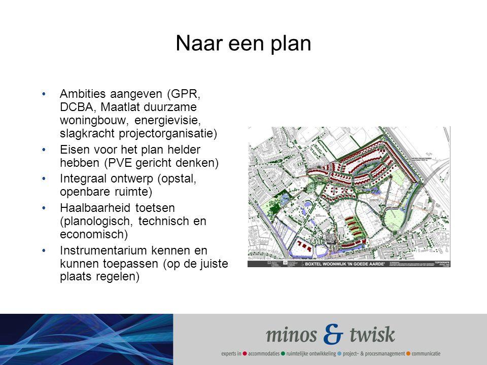 Naar een plan Ambities aangeven (GPR, DCBA, Maatlat duurzame woningbouw, energievisie, slagkracht projectorganisatie) Eisen voor het plan helder hebbe