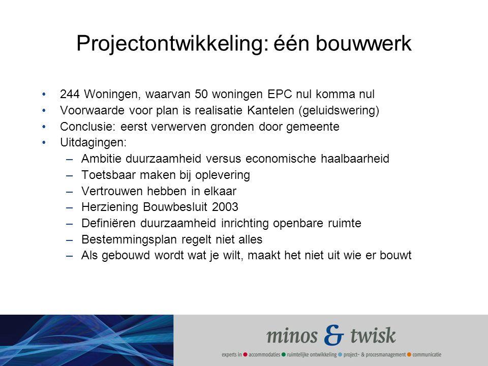 Projectontwikkeling: één bouwwerk 244 Woningen, waarvan 50 woningen EPC nul komma nul Voorwaarde voor plan is realisatie Kantelen (geluidswering) Conc