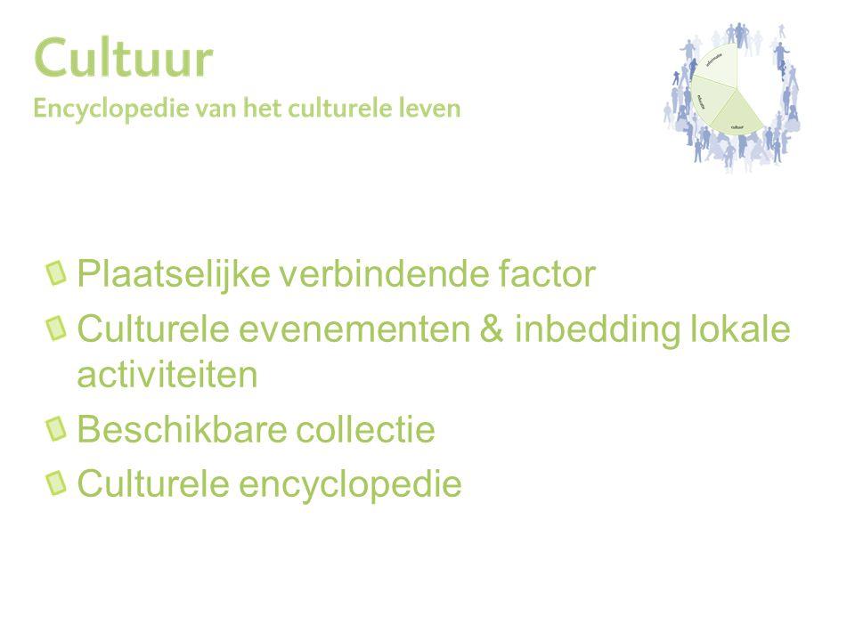 Plaatselijke verbindende factor Culturele evenementen & inbedding lokale activiteiten Beschikbare collectie Culturele encyclopedie