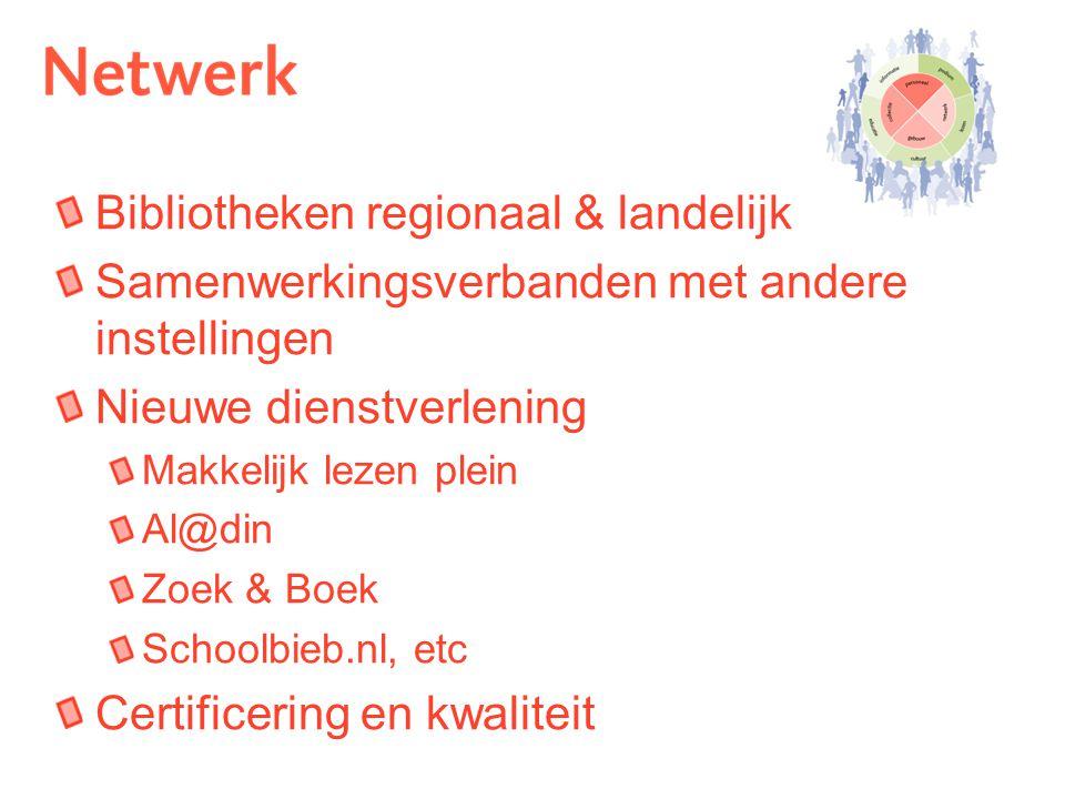 Bibliotheken regionaal & landelijk Samenwerkingsverbanden met andere instellingen Nieuwe dienstverlening Makkelijk lezen plein Al@din Zoek & Boek Schoolbieb.nl, etc Certificering en kwaliteit