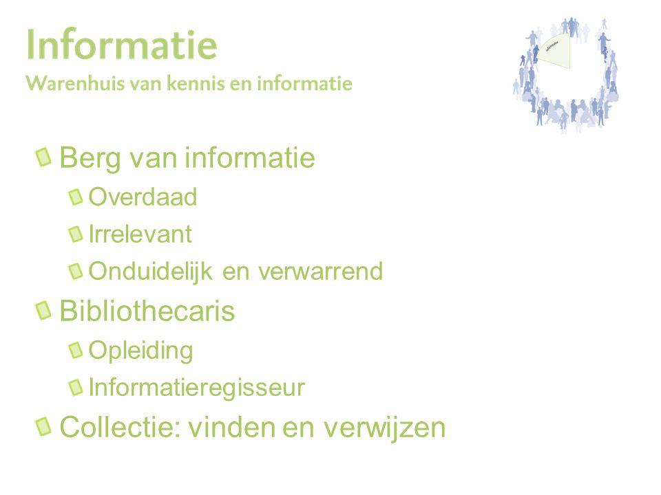 Berg van informatie Overdaad Irrelevant Onduidelijk en verwarrend Bibliothecaris Opleiding Informatieregisseur Collectie: vinden en verwijzen
