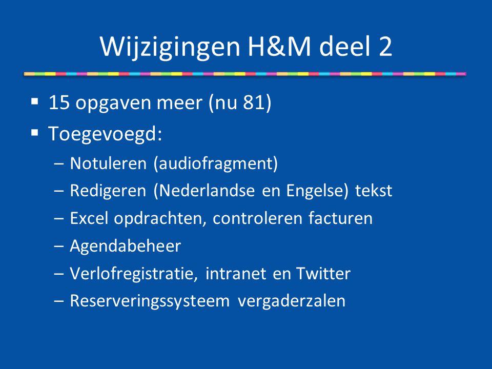 Wijzigingen H&M deel 2  15 opgaven meer (nu 81)  Toegevoegd: –Notuleren (audiofragment) –Redigeren (Nederlandse en Engelse) tekst –Excel opdrachten,