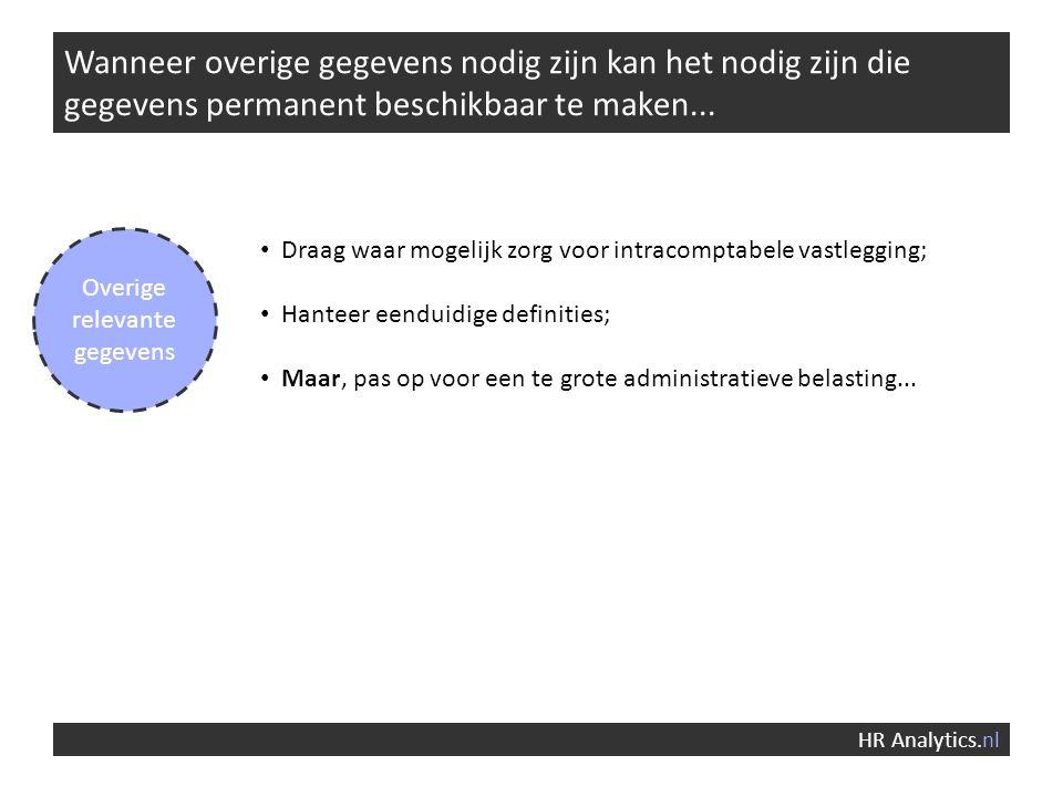 Wanneer overige gegevens nodig zijn kan het nodig zijn die gegevens permanent beschikbaar te maken... HR Analytics.nl Overige relevante gegevens Draag
