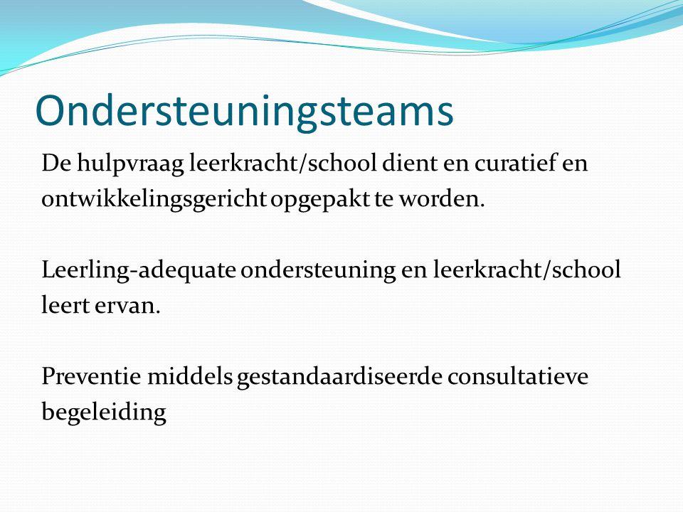 Ondersteuningsteams De hulpvraag leerkracht/school dient en curatief en ontwikkelingsgericht opgepakt te worden. Leerling-adequate ondersteuning en le