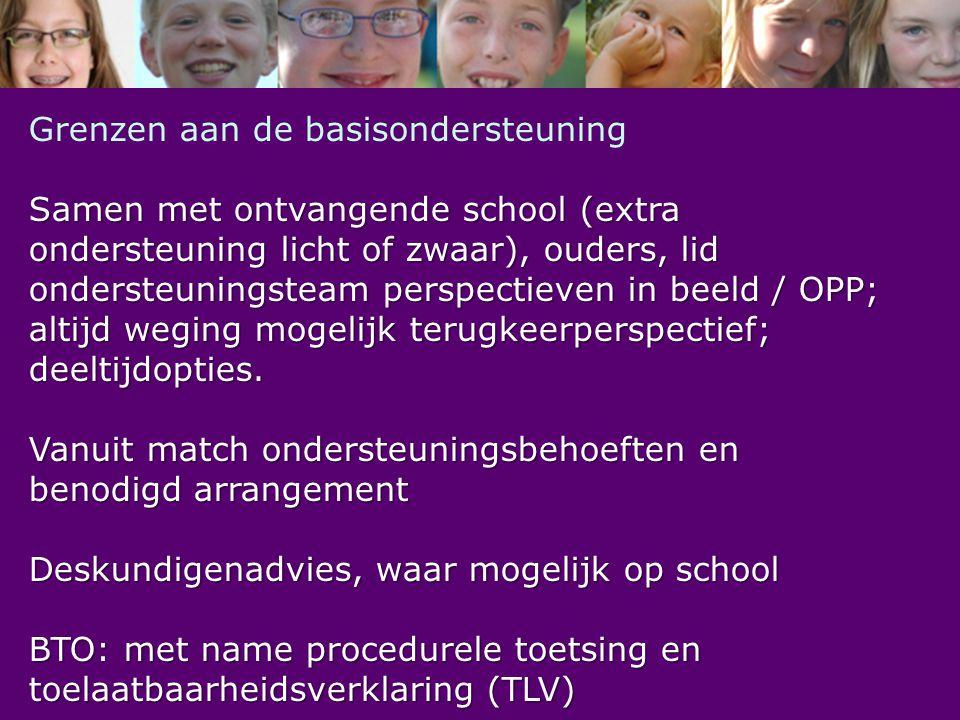 Grenzen aan de basisondersteuning Samen met ontvangende school (extra ondersteuning licht of zwaar), ouders, lid ondersteuningsteam perspectieven in b