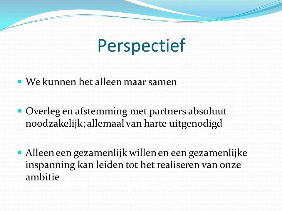 Perspectief We kunnen het alleen maar samen Overleg en afstemming met partners absoluut noodzakelijk; allemaal van harte uitgenodigd Alleen een gezame