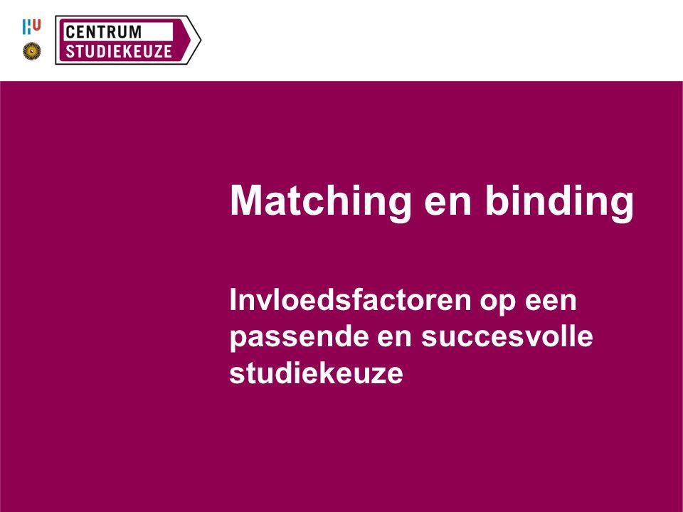 Matching en binding Invloedsfactoren op een passende en succesvolle studiekeuze