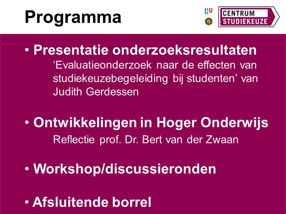 Programma Presentatie onderzoeksresultaten 'Evaluatieonderzoek naar de effecten van studiekeuzebegeleiding bij studenten' van Judith Gerdessen Ontwikk