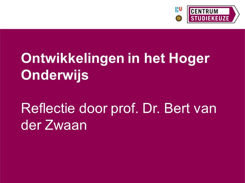Ontwikkelingen in het Hoger Onderwijs Reflectie door prof. Dr. Bert van der Zwaan