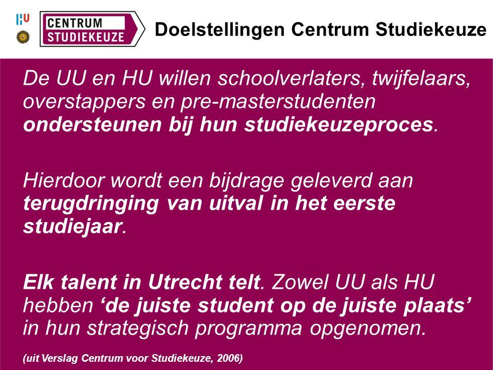 Verheugende resultaten Ondersteuning studiekeuzeproces 86% van de studenten geeft aan tevreden te zijn: 67% (zeer) tevreden, 19% redelijk tevreden Terugdringing van uitval in het eerste jaar 17% van de begeleide studenten besluit door te gaan met de al gekozen opleiding Elk talent in Utrecht telt 61% van de respondenten bleef in Utrecht studeren 'De juiste student op de juiste plaats' 76% heeft een opleiding gevonden die aansluit op de eigen interesses/vaardigheden/capaciteiten