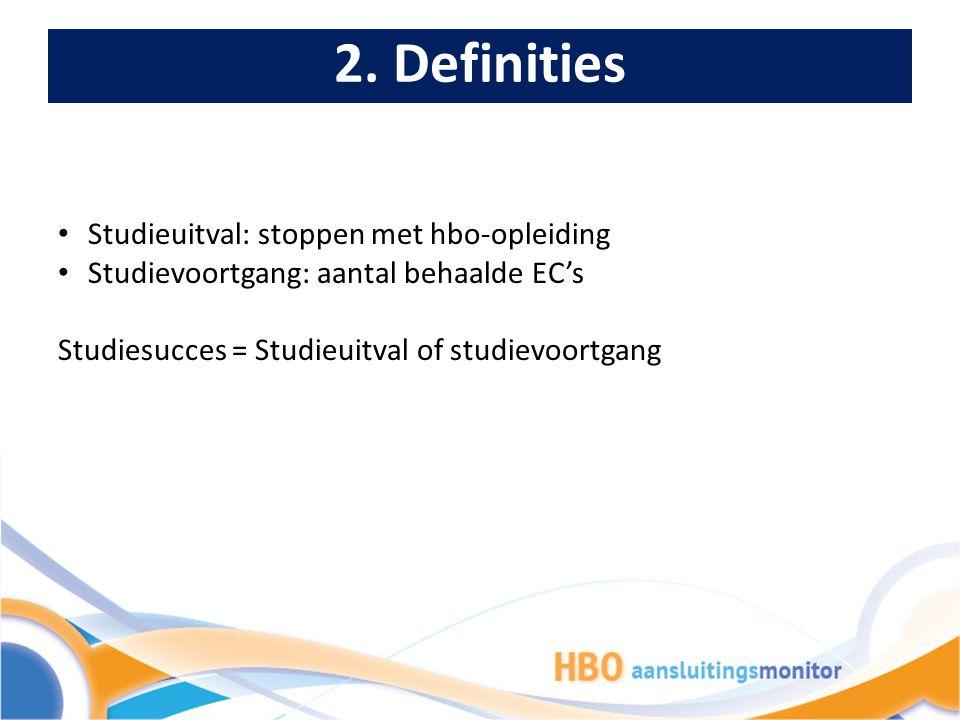 2. Definities Studieuitval: stoppen met hbo-opleiding Studievoortgang: aantal behaalde EC's Studiesucces = Studieuitval of studievoortgang