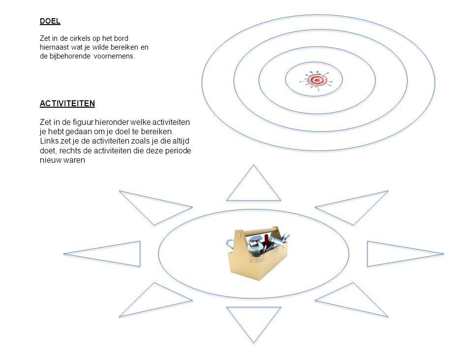 DOEL Zet in de cirkels op het bord hiernaast wat je wilde bereiken en de bijbehorende voornemens. ACTIVITEITEN Zet in de figuur hieronder welke activi