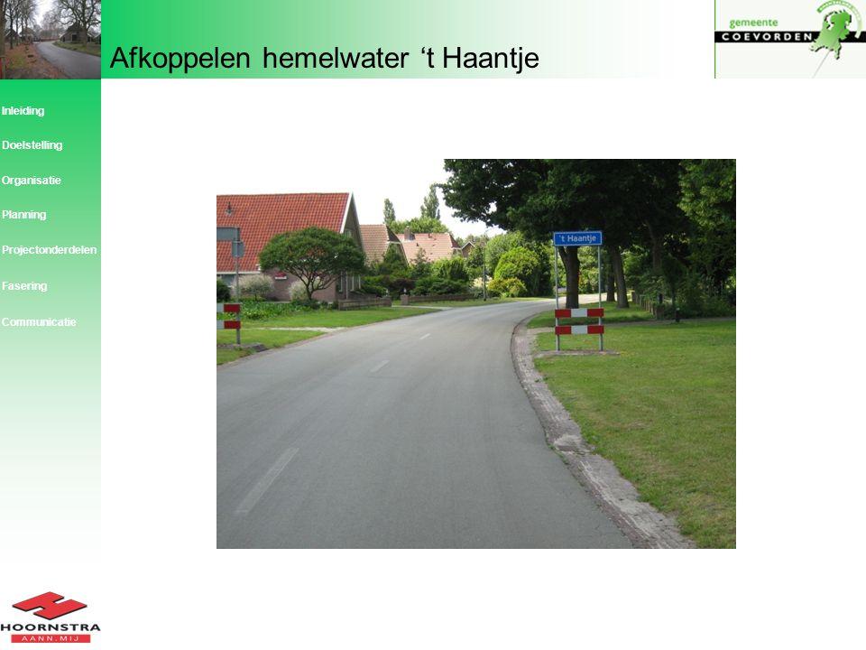 Afkoppelen hemelwater 't Haantje Inleiding Planning Organisatie Doelstelling Projectonderdelen Fasering Communicatie