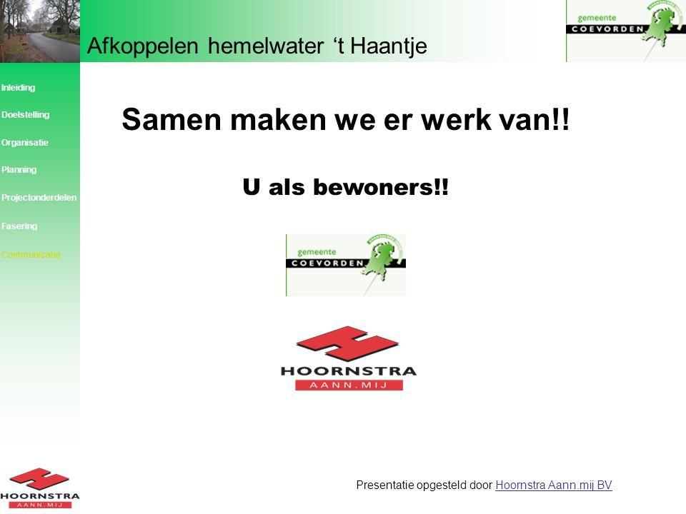 Afkoppelen hemelwater 't Haantje Inleiding Planning Organisatie Doelstelling Projectonderdelen Communicatie Presentatie opgesteld door Hoornstra Aann.