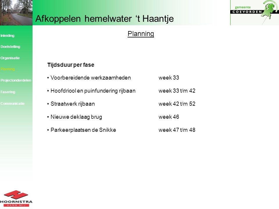 Afkoppelen hemelwater 't Haantje Planning Inleiding Planning Organisatie Doelstelling Projectonderdelen Fasering Tijdsduur per fase Voorbereidende wer