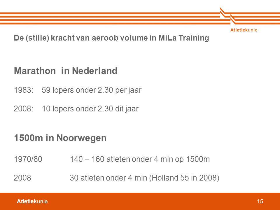 Atletiekunie15 De (stille) kracht van aeroob volume in MiLa Training Marathon in Nederland 1983: 59 lopers onder 2.30 per jaar 2008:10 lopers onder 2.