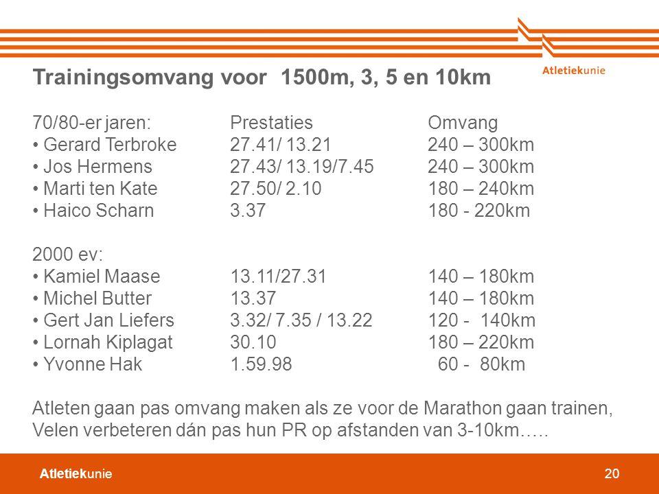 Atletiekunie20 Trainingsomvang voor 1500m, 3, 5 en 10km 70/80-er jaren: PrestatiesOmvang Gerard Terbroke 27.41/ 13.21240 – 300km Jos Hermens27.43/ 13.