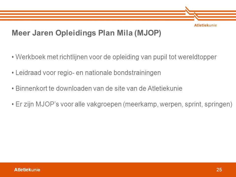 Atletiekunie25 Meer Jaren Opleidings Plan Mila (MJOP) Werkboek met richtlijnen voor de opleiding van pupil tot wereldtopper Leidraad voor regio- en na