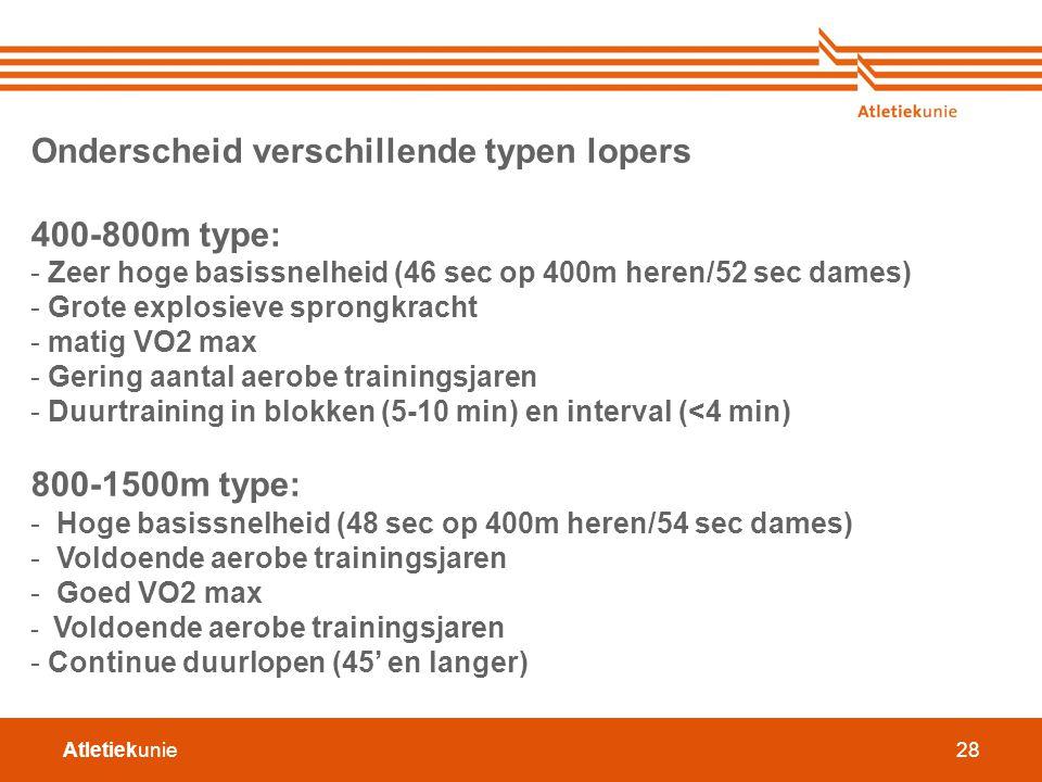 Atletiekunie28 Onderscheid verschillende typen lopers 400-800m type: - Zeer hoge basissnelheid (46 sec op 400m heren/52 sec dames) - Grote explosieve