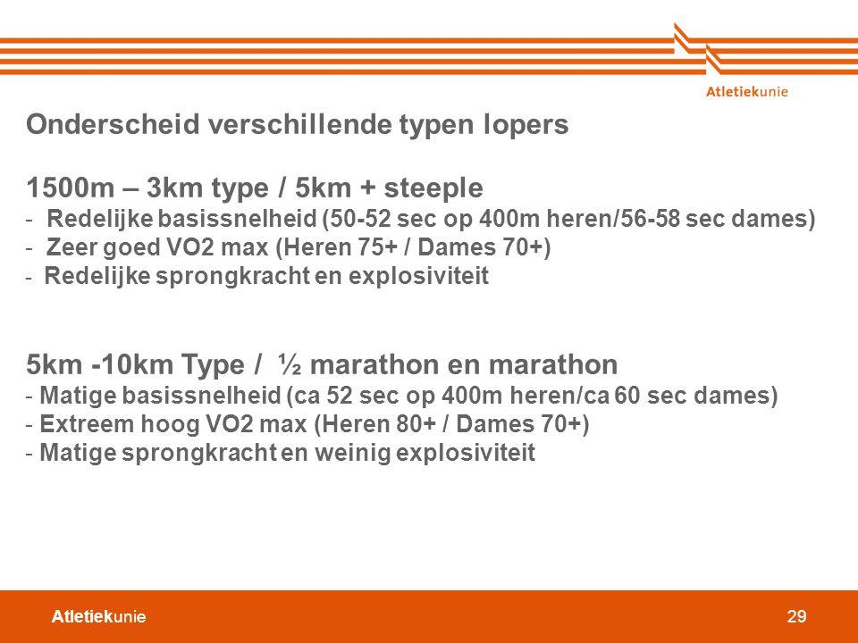Atletiekunie29 Onderscheid verschillende typen lopers 1500m – 3km type / 5km + steeple - Redelijke basissnelheid (50-52 sec op 400m heren/56-58 sec da