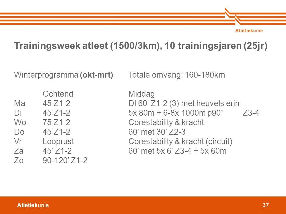 Atletiekunie37 Trainingsweek atleet (1500/3km), 10 trainingsjaren (25jr) Winterprogramma (okt-mrt) Totale omvang: 160-180km OchtendMiddag Ma45 Z1-2Dl