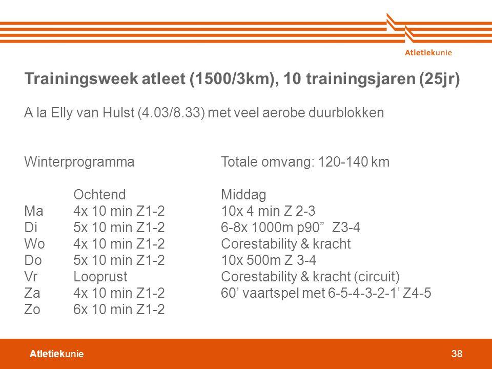 Atletiekunie38 Trainingsweek atleet (1500/3km), 10 trainingsjaren (25jr) A la Elly van Hulst (4.03/8.33) met veel aerobe duurblokken WinterprogrammaTo