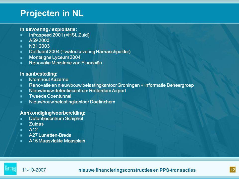 11-10-2007 nieuwe financieringsconstructies en PPS-transacties 12 Projecten in NL In uitvoering / exploitatie: Infraspeed 2001 (=HSL Zuid) A59 2003 N3