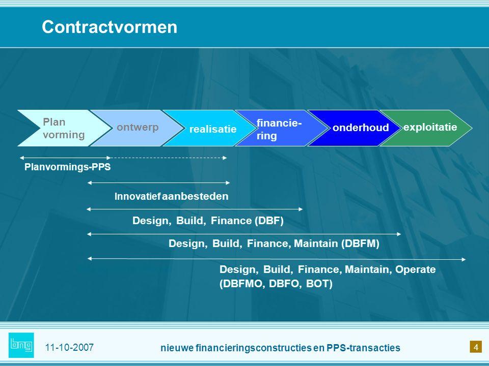 11-10-2007 nieuwe financieringsconstructies en PPS-transacties 4 Contractvormen ontwerp realisatie financie- ring onderhoud exploitatie Innovatief aan