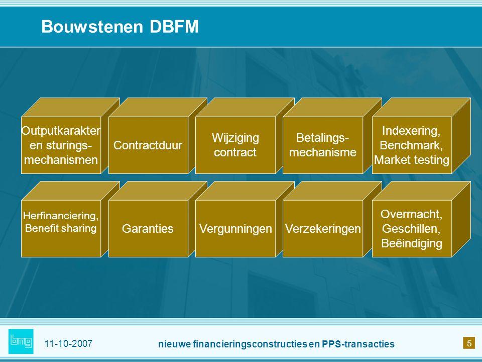 11-10-2007 nieuwe financieringsconstructies en PPS-transacties 5 Bouwstenen DBFM Outputkarakter en sturings- mechanismen Contractduur Wijziging contra