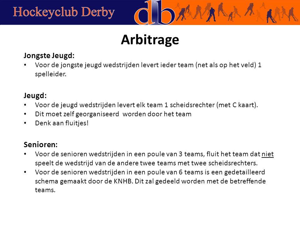Arbitrage Jongste Jeugd: Voor de jongste jeugd wedstrijden levert ieder team (net als op het veld) 1 spelleider.