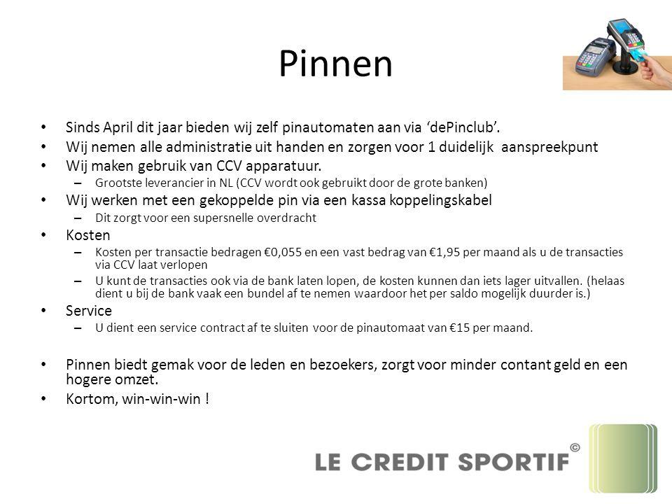 Pinnen Sinds April dit jaar bieden wij zelf pinautomaten aan via 'dePinclub'. Wij nemen alle administratie uit handen en zorgen voor 1 duidelijk aansp