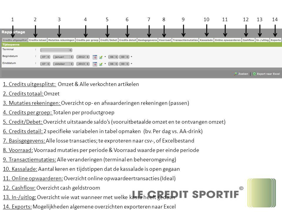 123456789 10 11121314 1. Credits uitgesplitst: Omzet & Alle verkochten artikelen 2.