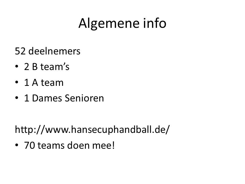 Algemene info 52 deelnemers 2 B team's 1 A team 1 Dames Senioren http://www.hansecuphandball.de/ 70 teams doen mee!