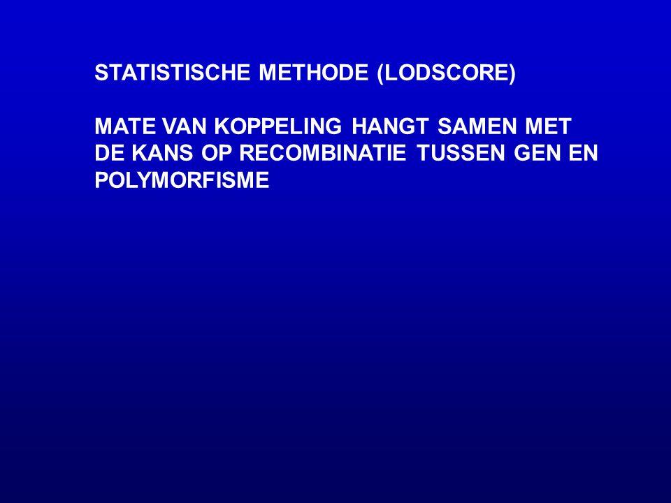 STATISTISCHE METHODE (LODSCORE) MATE VAN KOPPELING HANGT SAMEN MET DE KANS OP RECOMBINATIE TUSSEN GEN EN POLYMORFISME