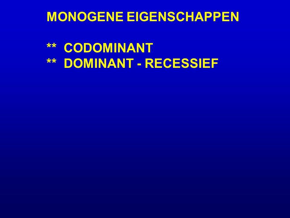 MONOGENE EIGENSCHAPPEN ** CODOMINANT ** DOMINANT - RECESSIEF Bloemkleur-gen met 2 allelen G = geel B = blauw